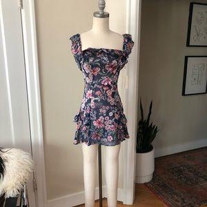 For Love & Lemons floral off shoulder mini dress